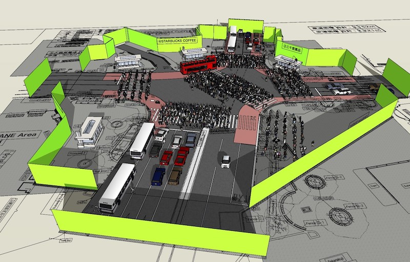 足利市に建設される渋谷スクランブル交差点のセットイメージ1