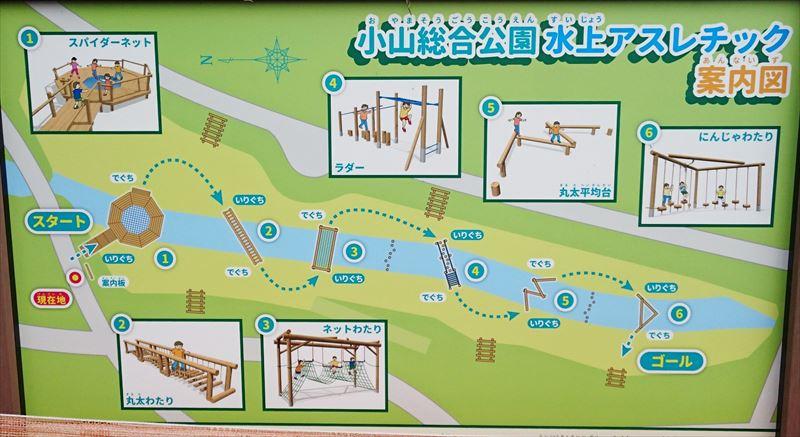 小山総合公園の水上アスレチックの案内図