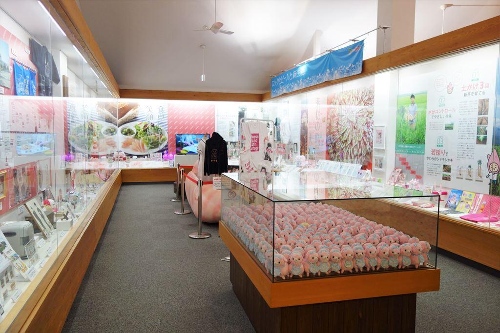 岩下の新生姜関連のグッズ展示