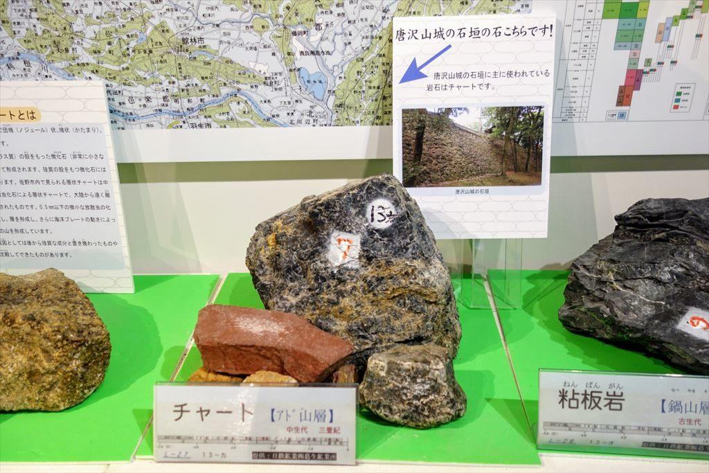 唐沢山の城跡で石垣として使われている石の標本