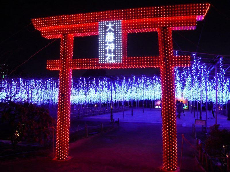 あしかがフラワーパークの大藤神社のイルミネーション