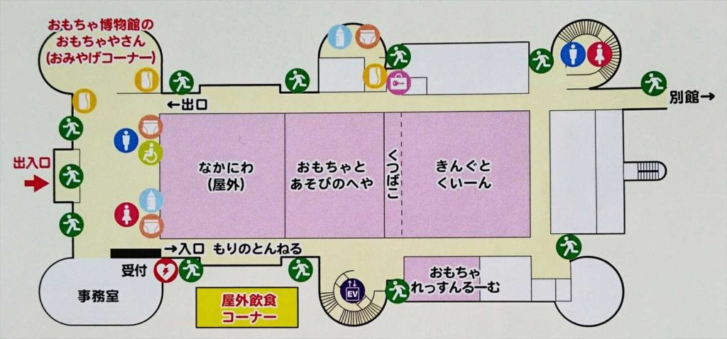 壬生町おもちゃ博物館1階「きっずらんど」のマップ